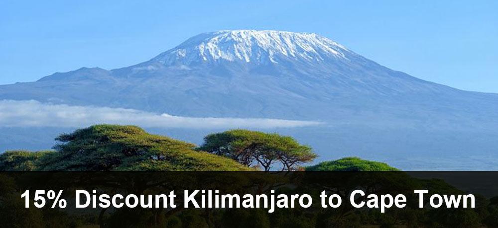 15% Discount off your Kiliamanjaro to Cape Town Tour 2020